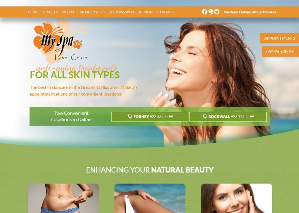 Myspaforney.com - Screenshot showing homepage of My Spa & Laser Center website