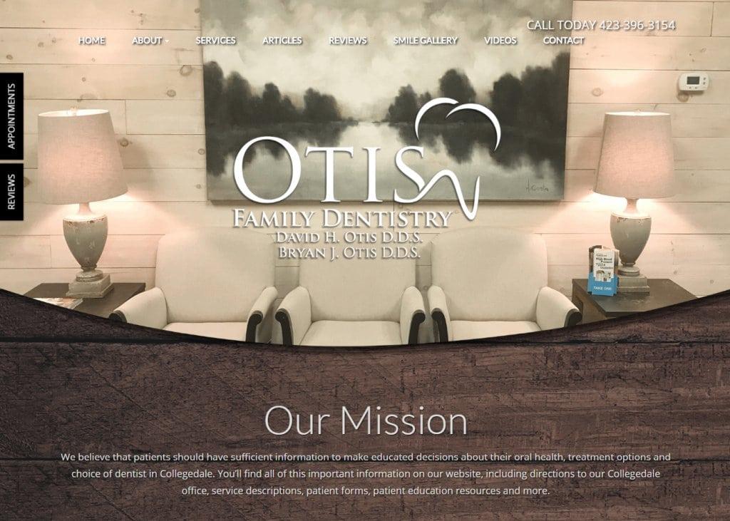 Screenshot showing homepage picture of Otis Family Dentistry,David H. Otis, D.D.S.-Ootelwah, TN website