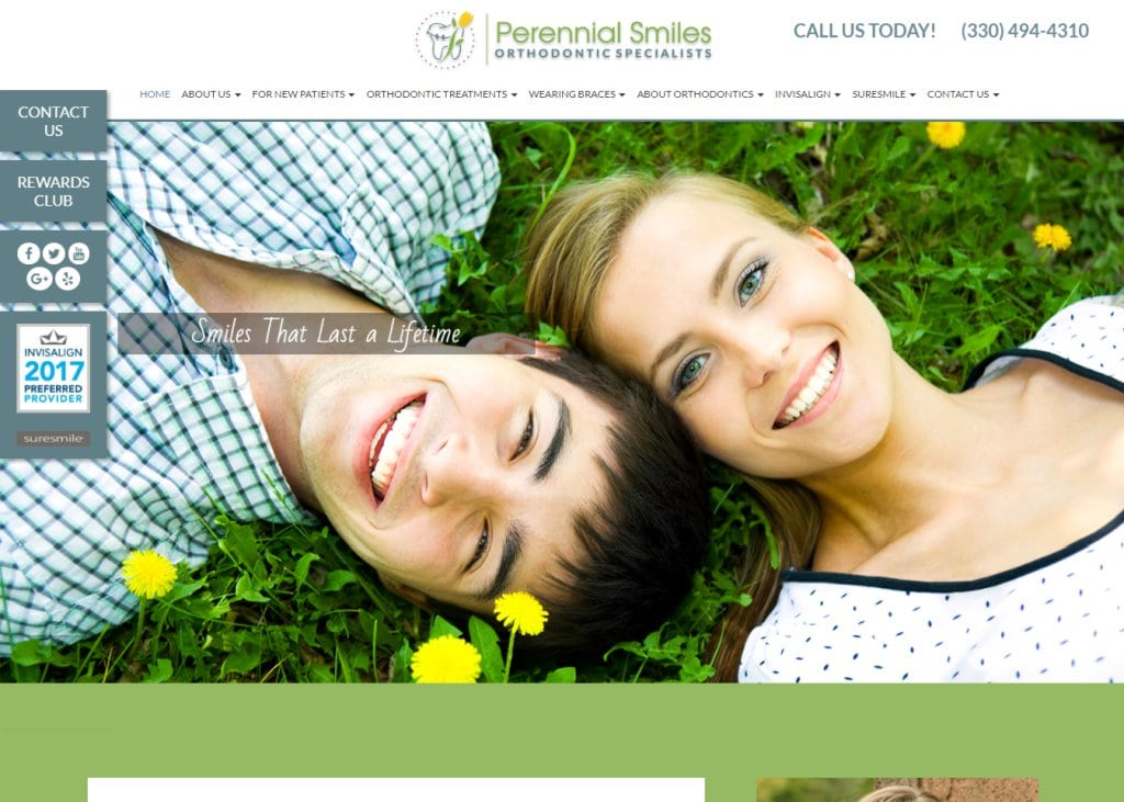 perennialsmiles.com screenshot showing homepage of Perennial Smiles, Dr. Stephanie Morgan - North Canton, OH website