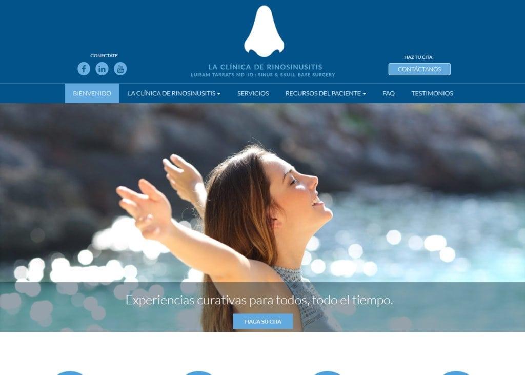 Narizpr.com screenshot showing homepage of Puerto Rico del cráneo - Clinica de Rinosinusitis - Dr. Tarrats website