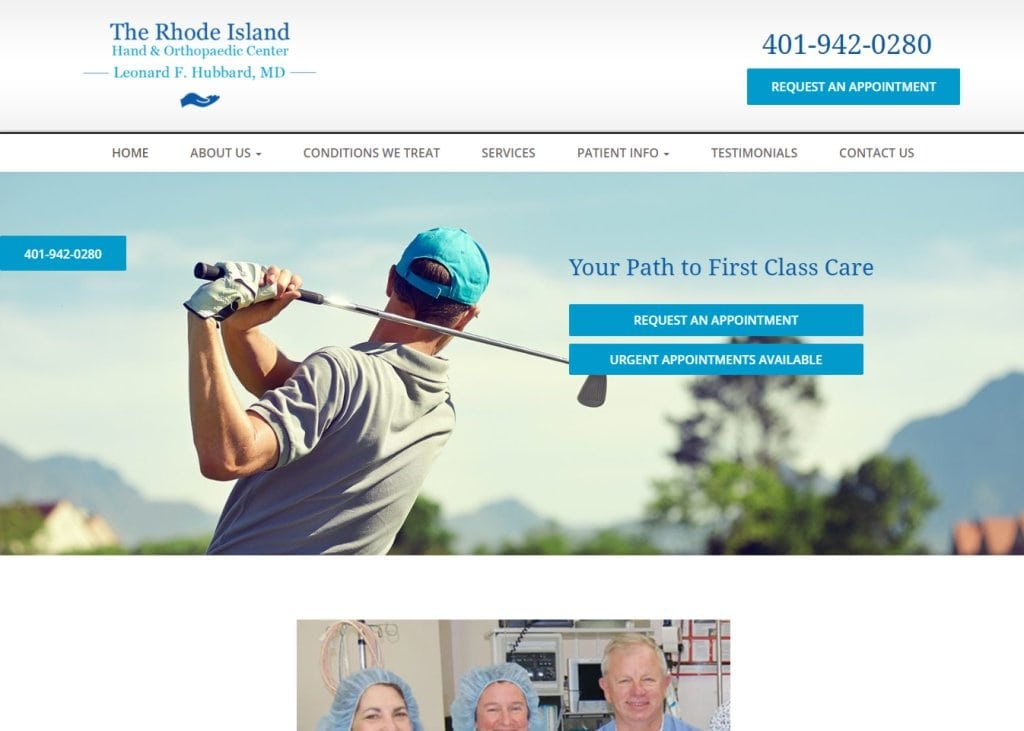 Screenshot showing homepage of Rhode Island Hand & Orthopaedic Center, Dr. Leonard F. Hubbard - Cranston, RI website