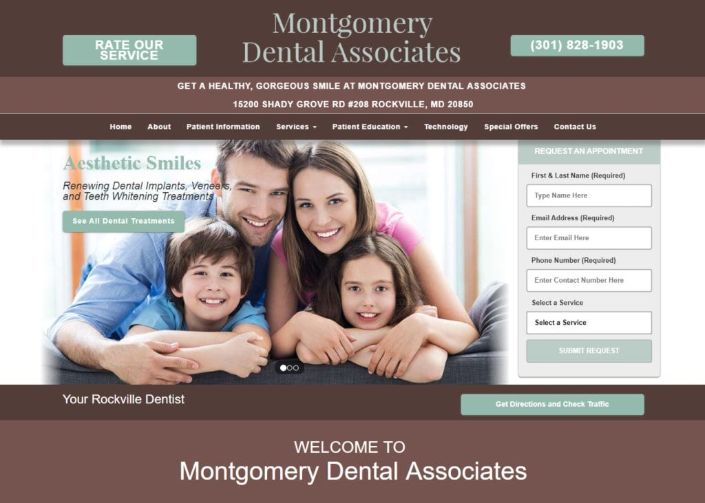 montgomerydentalassociates.com screenshot - Showing homepage of Rockville Dentist - Montgomery Dental Associates - Dr. Mark Hagigi website