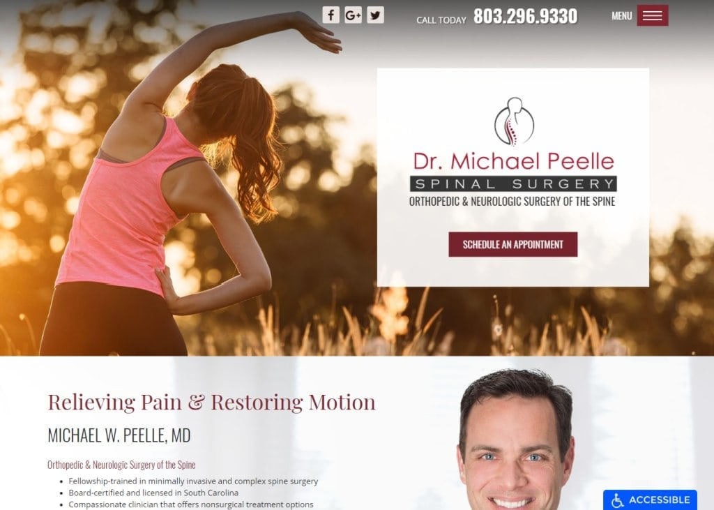 Spinesurgeondoctor.com - Screenshot showing homepage of Spinal Surgery, Michael W. Peelle, MD,Orthopedic & Neurologic Surgery Of The Spine website