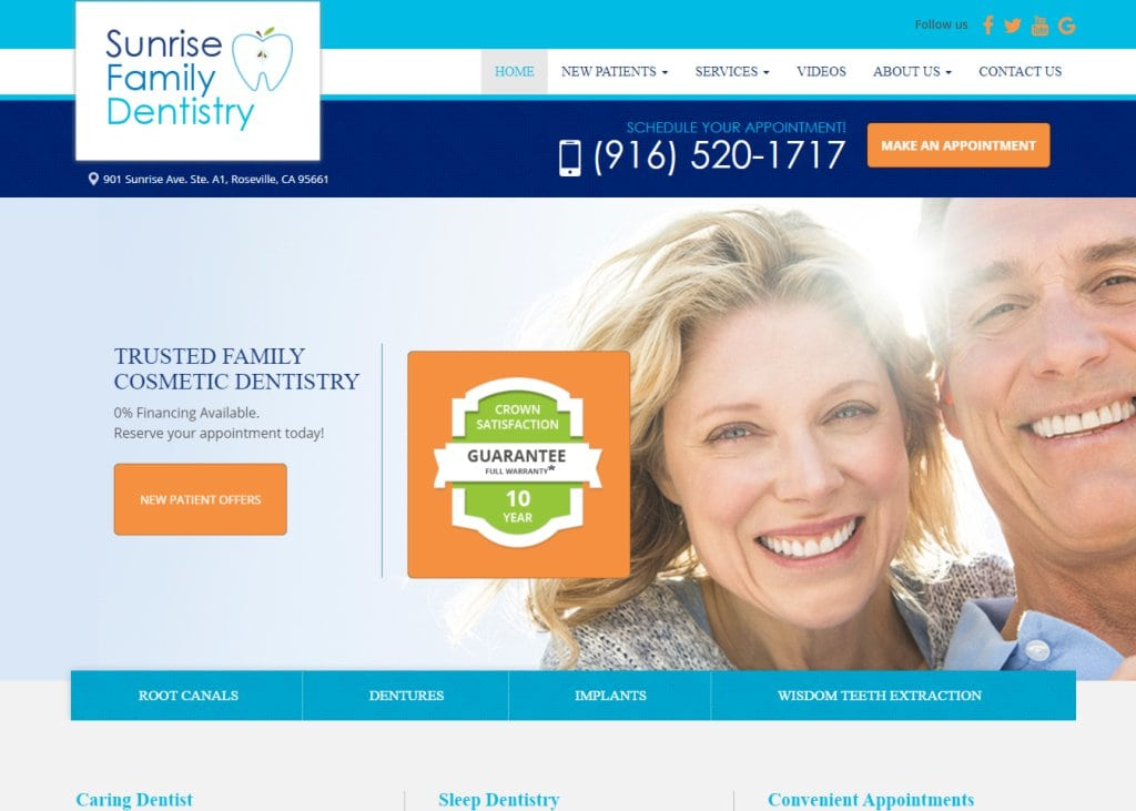 Screenshot showing homepage of Sunrise Family Dentistry, Trusted Family Cosmetic Dentistry - Roseville, CA website