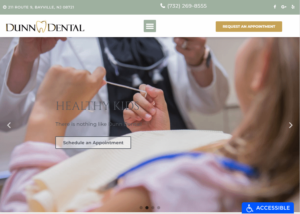 https://dunndental.com/ - showing homepage of Dunn Dental Website